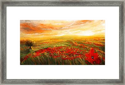 Glowing Rhapsody - Poppies Impressionist Paintings Framed Print by Lourry Legarde