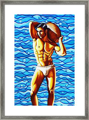 Golden Body And Blue Waves Framed Print by Joseph Sonday