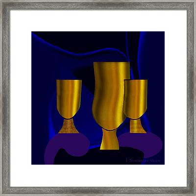 Golden Goblets - 782 Framed Print by Irmgard Schoendorf Welch