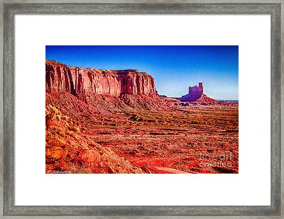Golden Hour Sunrise In Monument Valley Framed Print by Bob and Nadine Johnston