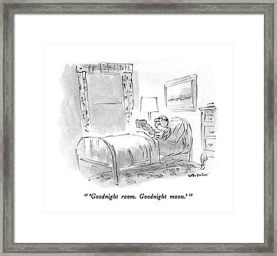 'goodnight Room. Goodnight Moon.' Framed Print