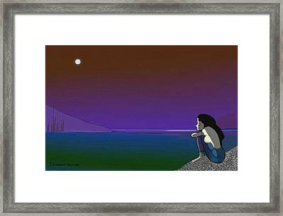 075 - Sitting At The Edge Of The Bay Framed Print by Irmgard Schoendorf Welch