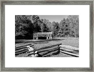 Historical Cantilever Barn At Cades Cove Tennessee In Black And White Framed Print by Kathy Clark