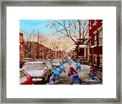 Hockey Art- Verdun Street Scene - Paintings Of Montreal Framed Print