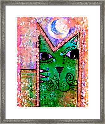 House Of Cats Series - Moon Cat Framed Print by Moon Stumpp