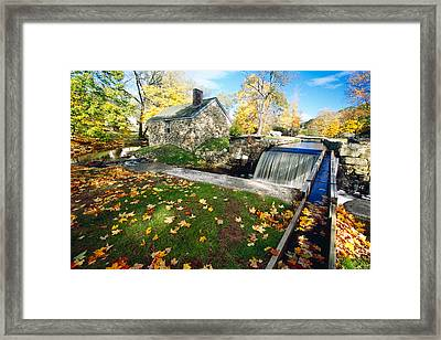 Hut And Creek Framed Print by George Oze
