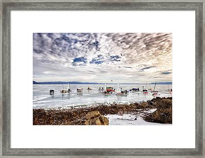 Ice Boats On Lake Pepin Framed Print