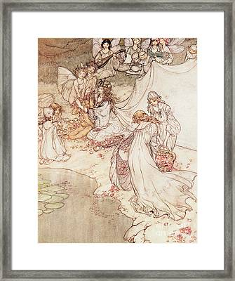 Illustration For A Fairy Tale Fairy Queen Covering A Child With Blossom Framed Print by Arthur Rackham