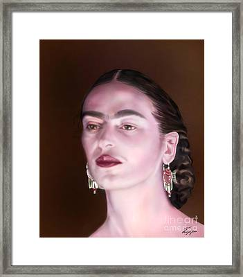 In The Eyes Of Beauty - Frida Framed Print