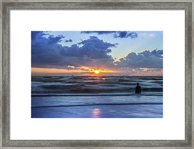 Incoming Tide At Crosby Beach Framed Print by Paul Madden