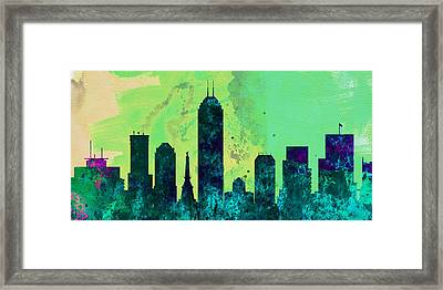 Indianapolis City Skyline Framed Print by Naxart Studio