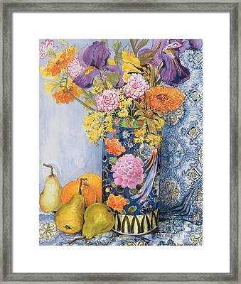 Iris And Pinks In A Japanese Vase With Pears Framed Print by Joan Thewsey