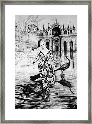 Italian Fantasies.venice. Acqua Alta Framed Print by Anna  Duyunova
