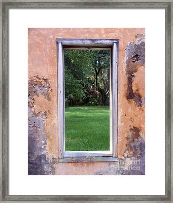 Framed Print featuring the photograph  Jeckyll Island Window by Tom Romeo
