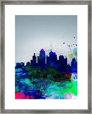 Kansas City Watercolor Skyline Framed Print by Naxart Studio