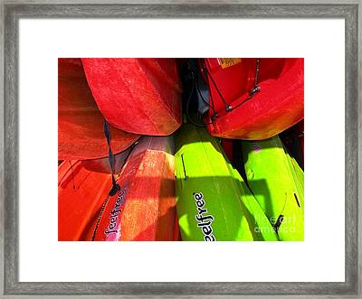 Kayaks Framed Print by Michelle Meenawong
