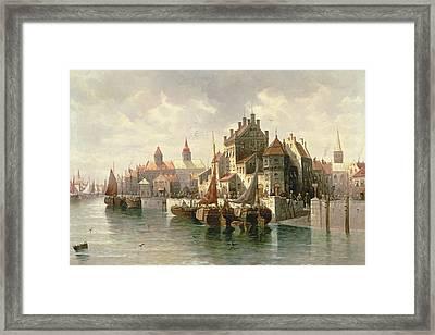 Kieler Canal Framed Print by August Siegen