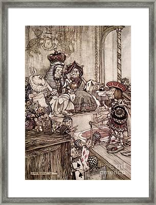 Knave Before The King And Queen Of Hearts Illustration To Alice S Adventures In Wonderland Framed Print