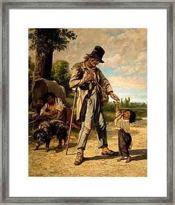 L Aumone D Un Mendiant Framed Print by Gustave Courbet