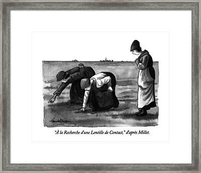 � La Recherche D'une Lentille De Contact Framed Print