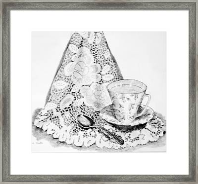 Lace With Cup Framed Print