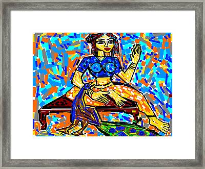 Lady With Peacock Framed Print by Anand Swaroop Manchiraju