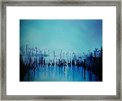 Lake With Reeds In Blue Framed Print by Jolanta Shiloni