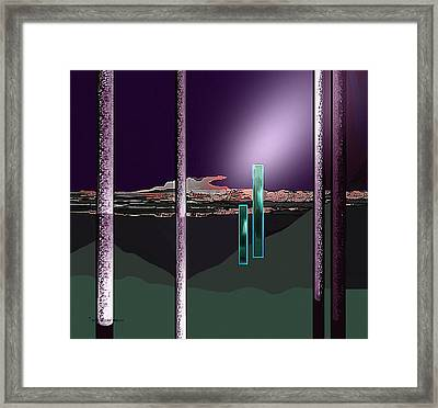 076 - Landscape With Columns And Two Monoliths  Framed Print