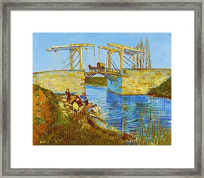 Langlois Bridge At Arles With Women Washing Framed Print by Vincent van Gogh