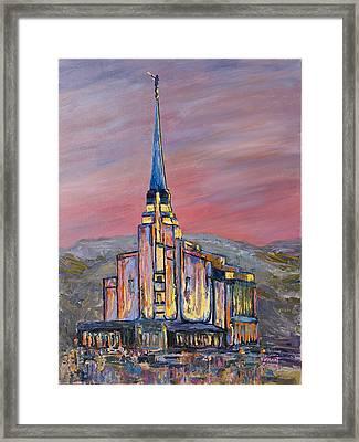 Latter Day Saints Rexburg Mormon Temple Rexburg Idaho Framed Print by Nancy LaMay