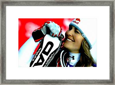 Lindsey Vonn Skiing Framed Print by Lanjee Chee