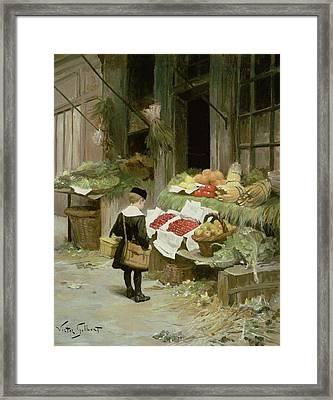 Little Boy At The Market Framed Print