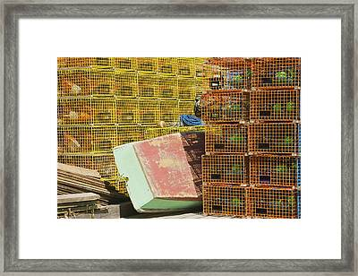Lobster Traps And Dinghy On Coast In Maine Framed Print by Keith Webber Jr