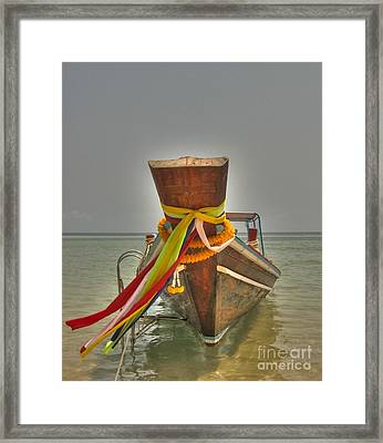 Long Tail Boat Framed Print by Michelle Meenawong