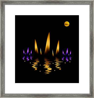 Lotus On Fire In The Dark Night Framed Print by Pepita Selles