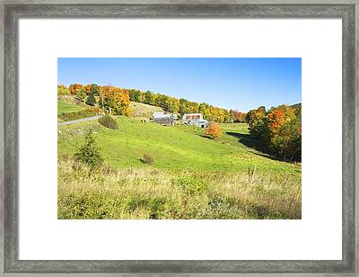 Maine Farm On Side Of Hill In Autumn Framed Print by Keith Webber Jr