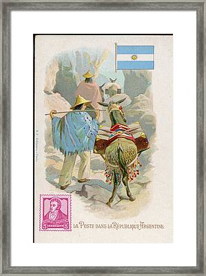 Making Deliveries In The  Mountain Framed Print by Mary Evans Picture Library