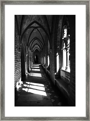 Malbork Castle Passage Bw Framed Print by Jacqueline M Lewis