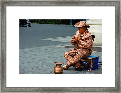 Man Painted In Copper Framed Print