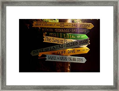 Maui Step Sign Framed Print by DerekTXFactor Creative