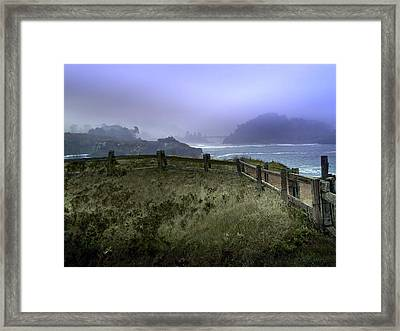 Mendocino Cliff Side Foggy Day   Framed Print