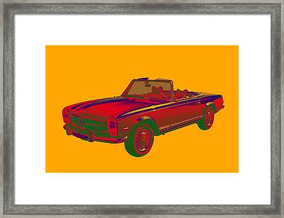Mercedes Benz 280 Sl Convertible Pop Art Framed Print by Keith Webber Jr
