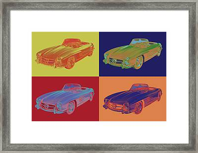 Mercedes Benz 300 Sl Convertible Pop Art Framed Print