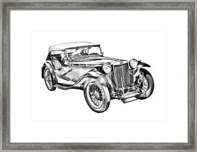 Mg Tc Antique Car Illustration Framed Print by Keith Webber Jr