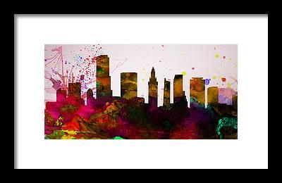Miami Skyline Framed Prints
