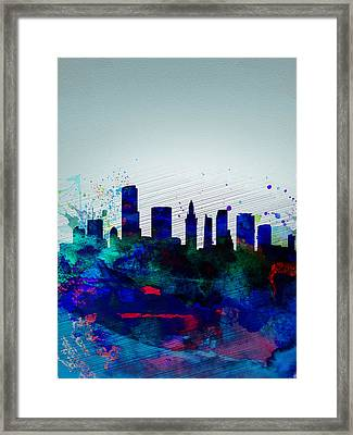 Miami Watercolor Skyline Framed Print by Naxart Studio