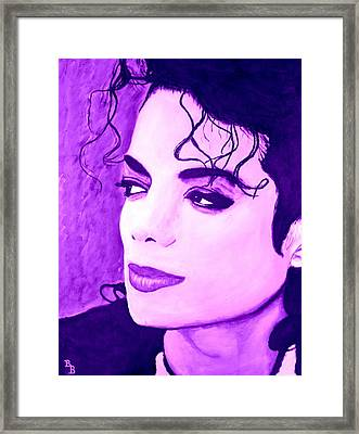 Framed Print featuring the painting  Michael Jackson In Purple by Bob Baker