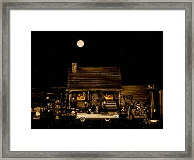 Miniature Log Cabin Scene With The Classic Old Vintage 1959 Dodge Royal Convertible In Sepia Color Framed Print by Leslie Crotty