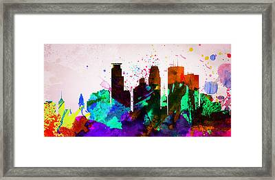 Minneapolis City Skyline Framed Print by Naxart Studio