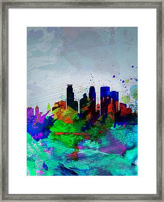 Minneapolis Watercolor Skyline Framed Print by Naxart Studio